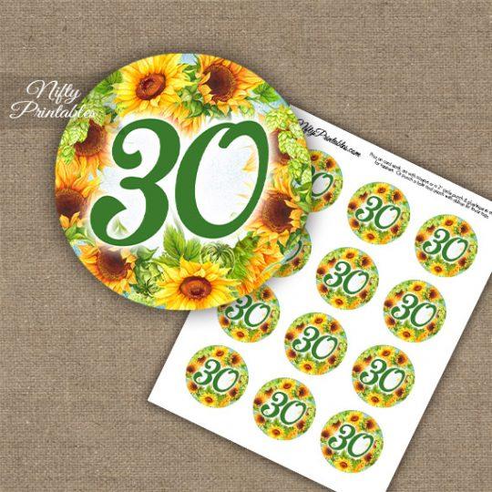 30th Birthday Anniversary Cupcake Toppers - Sunflowers