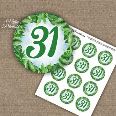 31st Birthday Anniversary Cupcake Toppers - Greenery