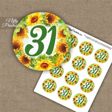 31st Birthday Anniversary Cupcake Toppers - Sunflowers