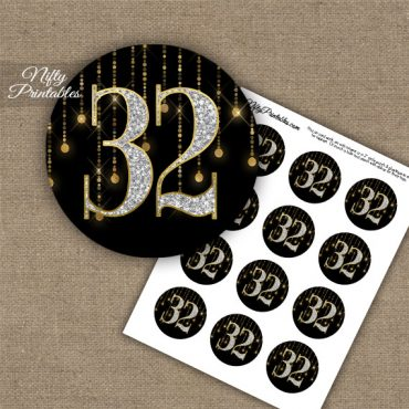 32nd Birthday Anniversary Cupcake Toppers - Diamonds Black Gold