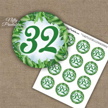 32nd Birthday Anniversary Cupcake Toppers - Greenery