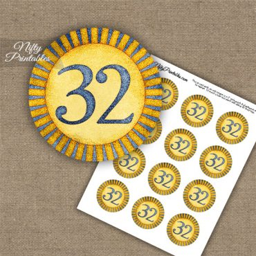 32nd Birthday Anniversary Cupcake Toppers - Sunshine Illustrated