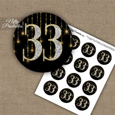 33rd Birthday Anniversary Cupcake Toppers - Diamonds Black Gold