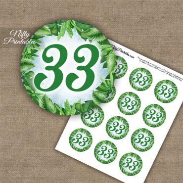 33rd Birthday Anniversary Cupcake Toppers - Greenery
