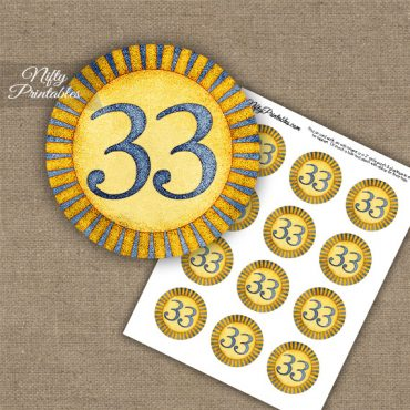 33rd Birthday Anniversary Cupcake Toppers - Sunshine Illustrated