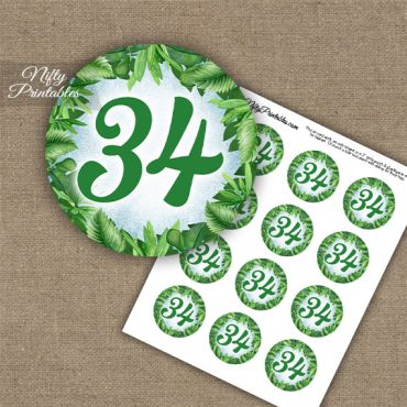 34th Birthday Anniversary Cupcake Toppers - Greenery