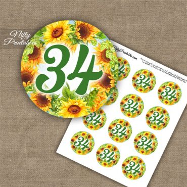 34th Birthday Anniversary Cupcake Toppers - Sunflowers