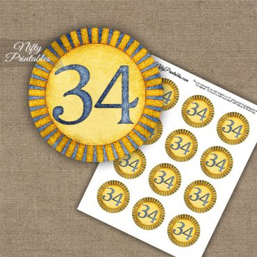 34th Birthday Anniversary Cupcake Toppers - Sunshine Illustrated