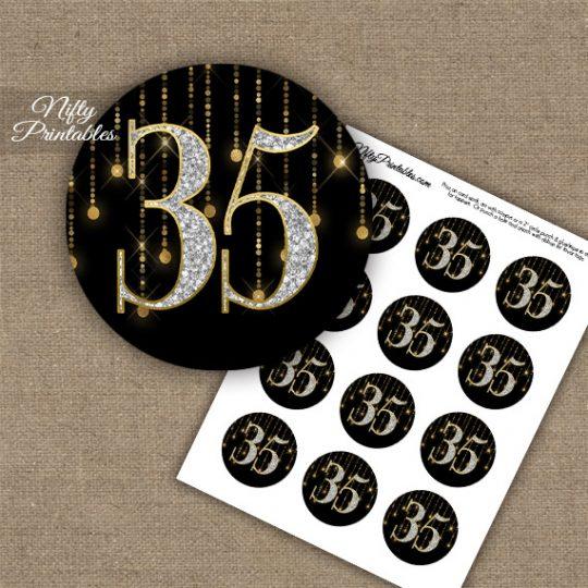 35th Birthday Anniversary Cupcake Toppers - Diamonds Black Gold
