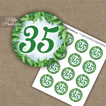35th Birthday Anniversary Cupcake Toppers - Greenery