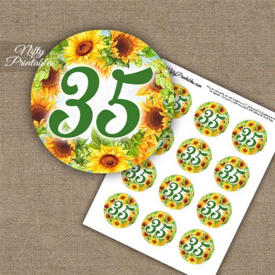 35th Birthday Anniversary Cupcake Toppers - Sunflowers