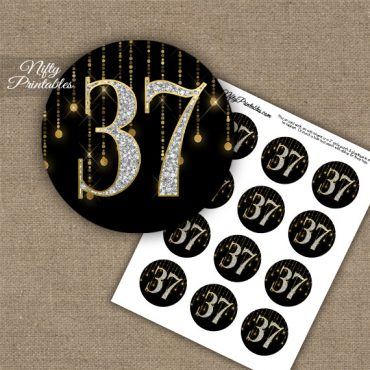 37th Birthday Anniversary Cupcake Toppers - Diamonds Black Gold