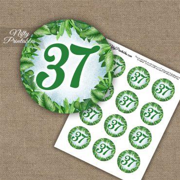 37th Birthday Anniversary Cupcake Toppers - Greenery