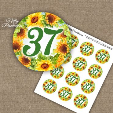 37th Birthday Anniversary Cupcake Toppers - Sunflowers