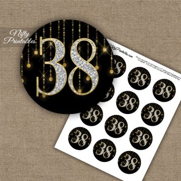 38th Birthday Anniversary Cupcake Toppers - Diamonds Black Gold