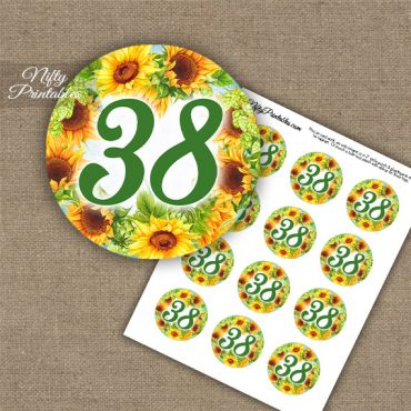 38th Birthday Anniversary Cupcake Toppers - Sunflowers