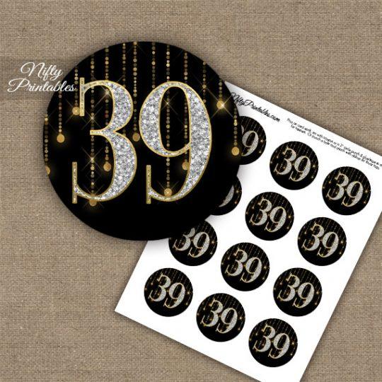 39th Birthday Anniversary Cupcake Toppers - Diamonds Black Gold
