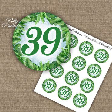 39th Birthday Anniversary Cupcake Toppers - Greenery