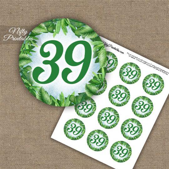39th Birthday Anniversary Cupcake Toppers - Greenery