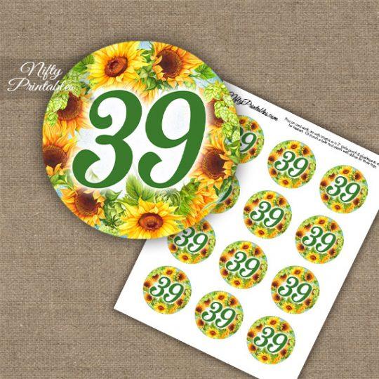 39th Birthday Anniversary Cupcake Toppers - Sunflowers