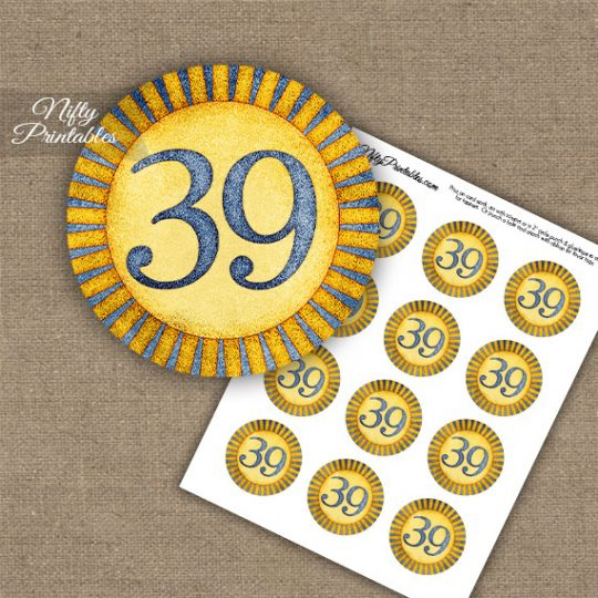 39th Birthday Anniversary Cupcake Toppers - Sunshine Illustrated