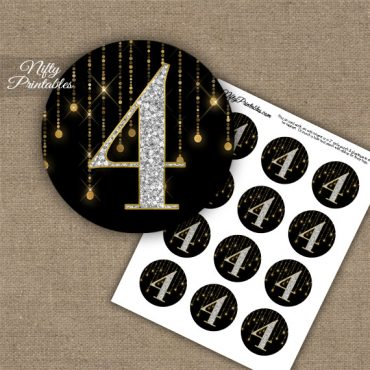 4th Birthday Anniversary Cupcake Toppers - Diamonds Black Gold