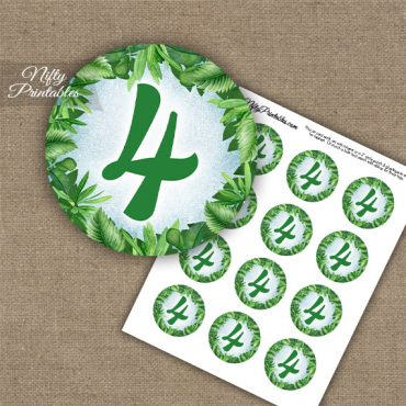 4th Birthday Anniversary Cupcake Toppers - Greenery