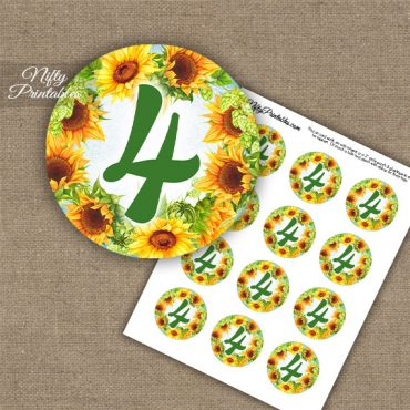 4th Birthday Anniversary Cupcake Toppers - Sunflowers