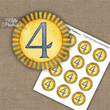 4th Birthday Anniversary Cupcake Toppers - Sunshine Illustrated