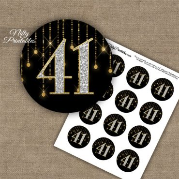 41st Birthday Anniversary Cupcake Toppers - Diamonds Black Gold