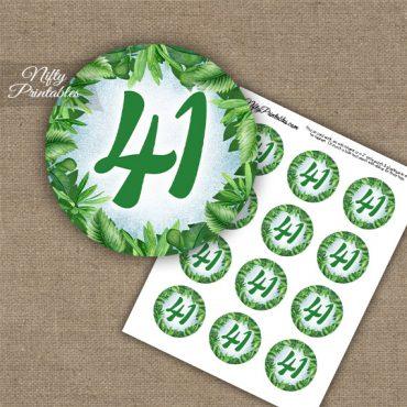 41st Birthday Anniversary Cupcake Toppers - Greenery