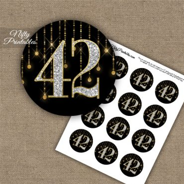 42nd Birthday Anniversary Cupcake Toppers - Diamonds Black Gold