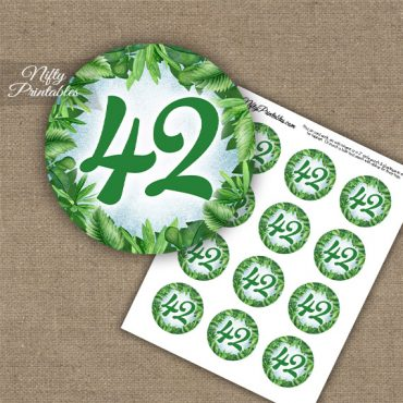42nd Birthday Anniversary Cupcake Toppers - Greenery