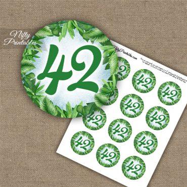 42nd Birthday Anniversary Cupcake Toppers - Greenery