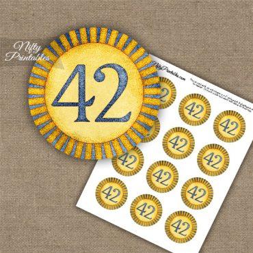 42nd Birthday Anniversary Cupcake Toppers - Sunshine Illustrated