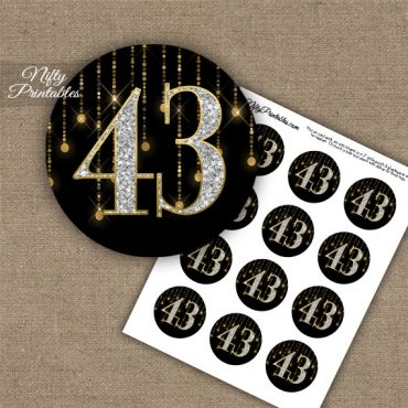 43rd Birthday Anniversary Cupcake Toppers - Diamonds Black Gold