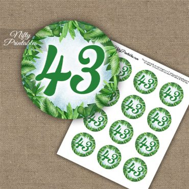 43rd Birthday Anniversary Cupcake Toppers - Greenery