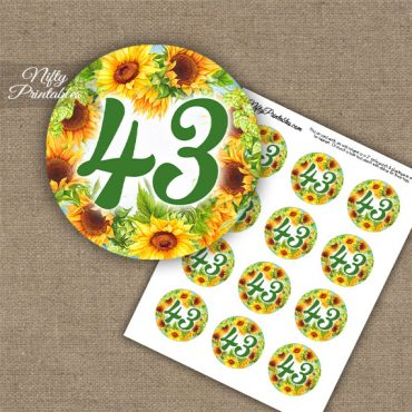 43rd Birthday Anniversary Cupcake Toppers - Sunflowers