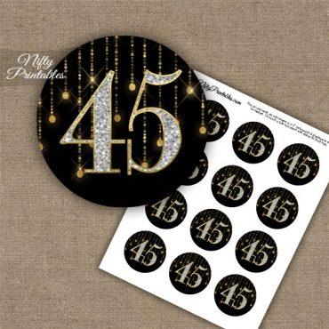 45th Birthday Anniversary Cupcake Toppers - Diamonds Black Gold