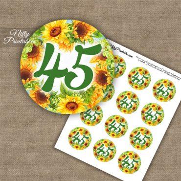 45th Birthday Anniversary Cupcake Toppers - Sunflowers