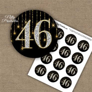 46th Birthday Anniversary Cupcake Toppers - Diamonds Black Gold