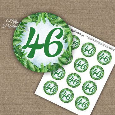 46th Birthday Anniversary Cupcake Toppers - Greenery