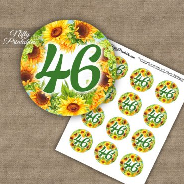 46th Birthday Anniversary Cupcake Toppers - Sunflowers