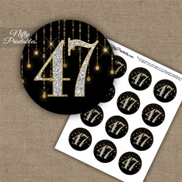 47th Birthday Anniversary Cupcake Toppers - Diamonds Black Gold