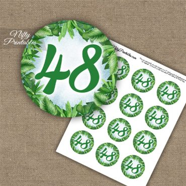 48th Birthday Anniversary Cupcake Toppers - Greenery