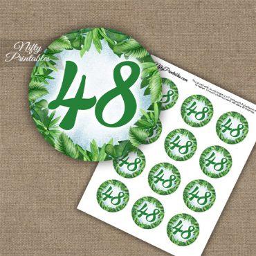 48th Birthday Anniversary Cupcake Toppers - Greenery