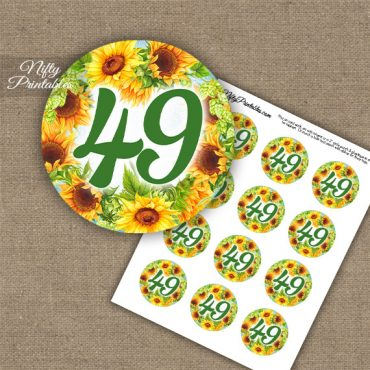 49th Birthday Anniversary Cupcake Toppers - Sunflowers