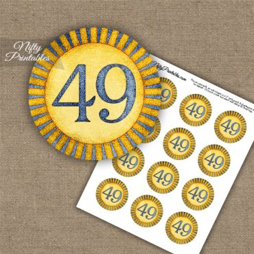 49th Birthday Anniversary Cupcake Toppers - Sunshine Illustrated
