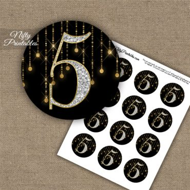 5th Birthday Anniversary Cupcake Toppers - Diamonds Black Gold