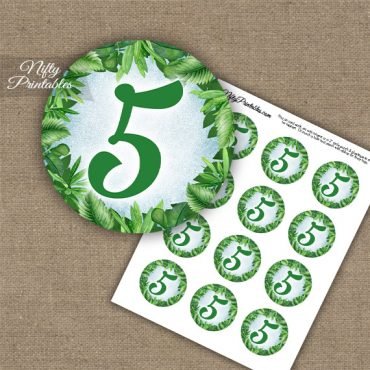 5th Birthday Anniversary Cupcake Toppers - Greenery